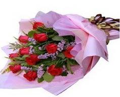 11 adet kirmizi güllerden görsel buket  Batman çiçek gönderme sitemiz güvenlidir