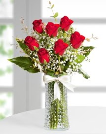 Cam vazoda 7 adet kırmızı gül  Batman çiçek , çiçekçi , çiçekçilik