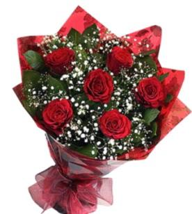 6 adet kırmızı gülden buket  Batman yurtiçi ve yurtdışı çiçek siparişi