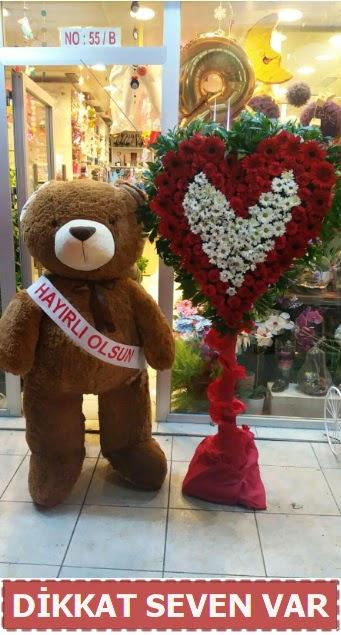 1.5 Metre peluş ayı ve Kalp  Batman çiçek gönderme sitemiz güvenlidir