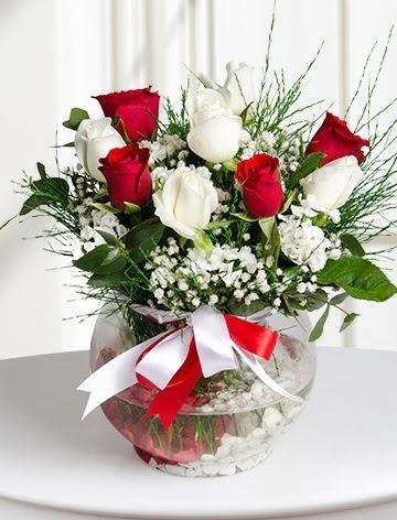 Aşk Küresi  5 beyaz 5 kırmızı gül fanusta  Batman internetten çiçek satışı