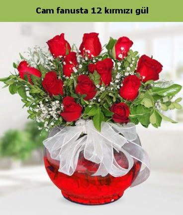 Cam içerisinde 12 adet kırmızı gül  Batman internetten çiçek satışı