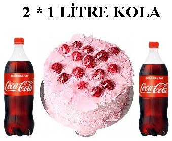6 ile 9 kişilik Frambuazlı pasta 2 * 1 litre kola