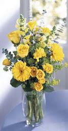 Batman online çiçek gönderme sipariş  sari güller ve gerbera cam yada mika vazo