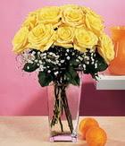 Batman internetten çiçek satışı  9 adet sari güllerden cam yada mika vazo