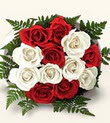 Batman çiçek , çiçekçi , çiçekçilik  10 adet kirmizi beyaz güller - anneler günü için ideal seçimdir -