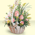 Batman 14 şubat sevgililer günü çiçek  sepette pembe güller