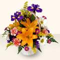 Batman 14 şubat sevgililer günü çiçek  sepet içinde karisik çiçekler