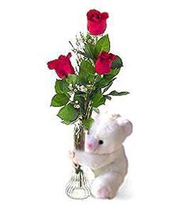 oyuncak ve 3 adet gül  Batman çiçek siparişi sitesi
