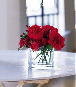 Batman ucuz çiçek gönder  kirmizinin sihri cam içinde görsel sade çiçekler