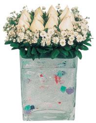 Batman çiçekçi mağazası  7 adet beyaz gül cam yada mika vazo tanzim