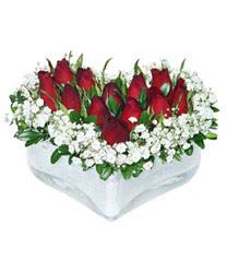 Batman internetten çiçek siparişi  mika kalp içerisinde 9 adet kirmizi gül