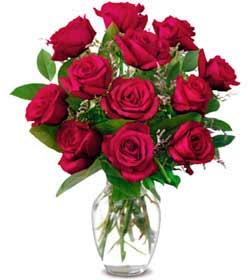 Batman online çiçek gönderme sipariş  1 düzine kirmizi gül sevenlere özel vazo gülleri