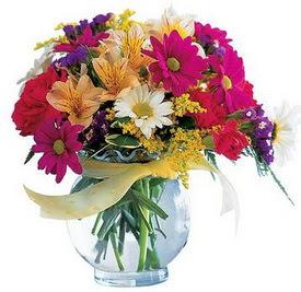 Batman internetten çiçek satışı  cam yada mika içerisinde karisik mevsim çiçekleri