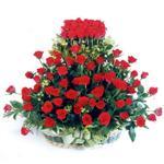Batman kaliteli taze ve ucuz çiçekler  41 adet kirmizi gülden sepet tanzimi