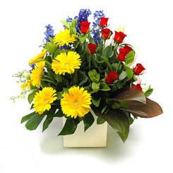 Batman online çiçek gönderme sipariş  9 adet gül ve kir çiçekleri cam yada mika vazoda