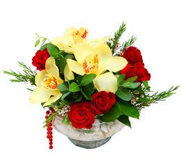 Batman çiçek gönderme  1 adet orkide 5 adet gül cam yada mikada