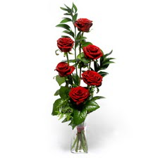Batman uluslararası çiçek gönderme  mika yada cam vazoda 6 adet essiz gül