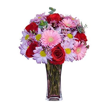 Görsel hediye karisik cam mevsim demeti  Batman çiçekçi mağazası