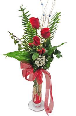 Çiçek gönderin cam vazoda 3 gül çiçekleri  Batman çiçek siparişi sitesi