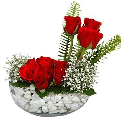 cam içerisinde 9 adet kirmizi gül  Batman çiçek siparişi vermek