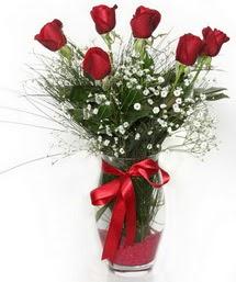 7 adet gülden cam içerisinde güller  Batman 14 şubat sevgililer günü çiçek
