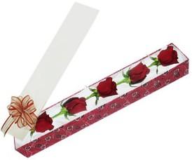 Batman internetten çiçek satışı  kutu içerisinde 5 adet kirmizi gül