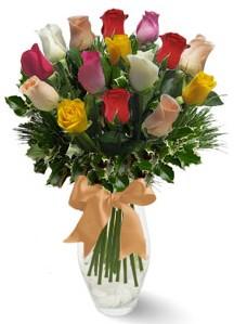 15 adet vazoda renkli gül  Batman internetten çiçek satışı