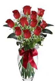 11 adet kirmizi gül vazo mika vazo içinde  Batman 14 şubat sevgililer günü çiçek