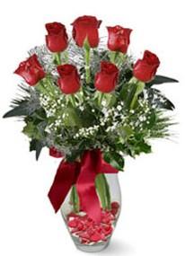 Batman internetten çiçek siparişi  7 adet kirmizi gül cam vazo yada mika vazoda