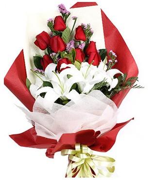 Batman çiçekçiler  1 dal kazablankaa 9 adet kırmızı gül buketi