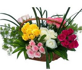 Batman ucuz çiçek gönder  35 adet rengarenk güllerden sepet tanzimi