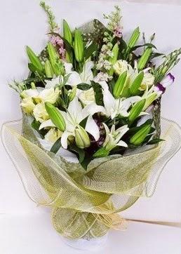 Batman çiçek servisi , çiçekçi adresleri  3 adet kazablankalardan görsel buket çiçeği