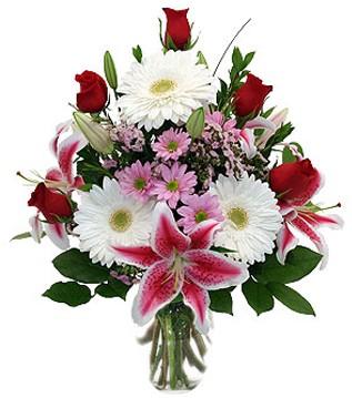 Batman çiçek mağazası , çiçekçi adresleri  1 dal kazablanka 5 gül ve kırçiçeği vazosu