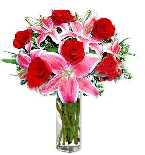 Batman çiçek yolla  1 dal cazablanca ve 6 kırmızı gül çiçeği