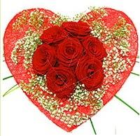 Mika kalp içerisinde 7 adet kırmızı gül  Batman çiçekçi mağazası