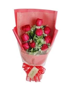 9 adet kırmızı gülden görsel buket  Batman ucuz çiçek gönder