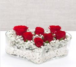 kalp içerisinde 7 adet kırmızı gül  Batman çiçek siparişi vermek