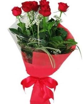 5 adet kırmızı gülden buket  Batman kaliteli taze ve ucuz çiçekler
