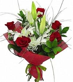 1 dal kazablanka 5 kırmızı gül buketi  Batman kaliteli taze ve ucuz çiçekler