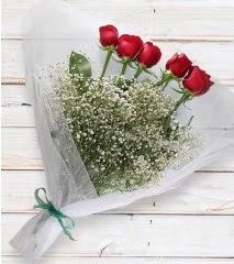 5 kırmızı gülden sade buket  Batman çiçek yolla