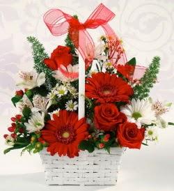 Karışık rengarenk mevsim çiçek sepeti  Batman internetten çiçek siparişi