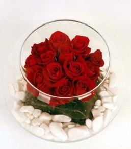 Cam fanusta 11 adet kırmızı gül  Batman çiçek gönderme