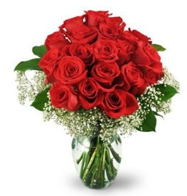 25 adet kırmızı gül cam vazoda  Batman çiçek , çiçekçi , çiçekçilik