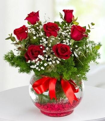 fanus Vazoda 7 Gül  Batman çiçek , çiçekçi , çiçekçilik