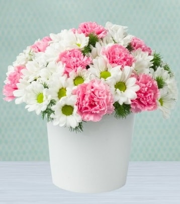 Seramik vazoda papatya ve kır çiçekleri  Batman çiçek siparişi sitesi