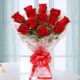11 adet kırmızı gülden görsel şık buket  Batman ucuz çiçek gönder