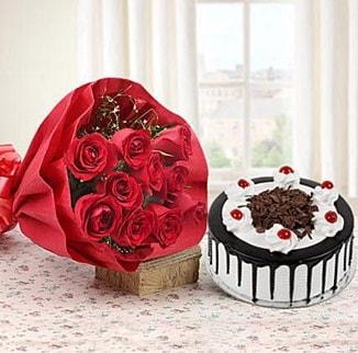 12 adet kırmızı gül 4 kişilik yaş pasta  Batman çiçek , çiçekçi , çiçekçilik