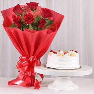 6 Kırmızı gül ve 4 kişilik yaş pasta  Batman çiçek , çiçekçi , çiçekçilik