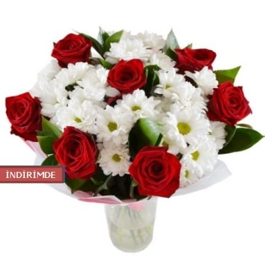 7 kırmızı gül ve 1 demet krizantem  Batman çiçek gönderme sitemiz güvenlidir